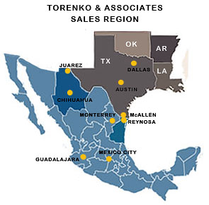 Torenko and Asssociates - Sales Region and Offices Map.